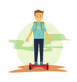 male student rides hover board to commute vector image