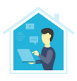 man with laptop work from home vector image