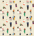 man woman walk with baby stroll people pose sit vector image vector image