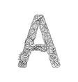 mandala letter a monogram adult coloring book en vector image vector image