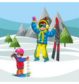 mother teaching little son how to ski vector image vector image