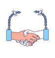 nice hands together like friendship with chains vector image