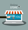 online store symbol e shop icon with hand and vector image vector image