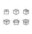 open close delivery shipping and box line icon set vector image