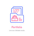 portfolio line icon on white background editable vector image