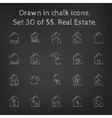 Real estate icon set drawn in chalk vector image