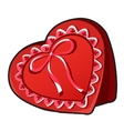 Red box in heart shape with ribbon vector image vector image