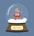 santa in red car in snow globe vector image vector image