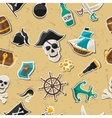 Seamless pattern on pirate theme with stickers and vector image