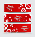 set of horizontal banners happy valentines day vector image