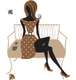 silhouette woman sitting on bench vector image vector image