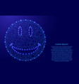 smile face from futuristic polygonal blue lines vector image vector image