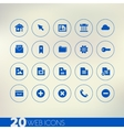 Thin simple web blue icons on light background vector image