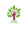 tree and human hand logo template design green vector image