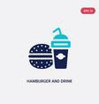 two color hamburger and drink icon from food vector image vector image