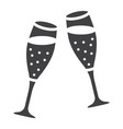 two glasses of champagne glyph icon valentines vector image