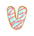v letter in the shape of sweet glazed cookie vector image
