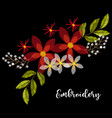 vintage embroidery red and white flowers vector image