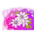 white flower on the purple background vector image vector image