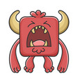 yelling red square devil cartoon monster vector image vector image