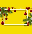 yellow background with colorful christmas balls vector image vector image