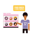 young african american man and donuts delicious vector image vector image