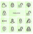 14 padlock icons vector image vector image