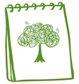 A green notebook with a drawing of a tree vector image