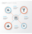 army icons set collection aircraft cranium vector image vector image