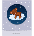 Baby bear sleeping on cloud vector image vector image