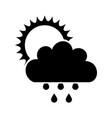 beautiful fantasy cloud with sun and rain drops vector image