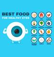 best food for healthy eye strong eyeball vector image vector image