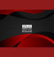 black and red wave abstract background with copy vector image vector image
