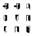 black door icon set vector image vector image