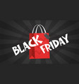 black friday message on red shopping bag holiday vector image