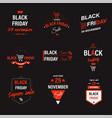 black friday sale discounts and sale emblems set vector image vector image