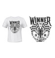 car race winner cup and flags t-shirt vector image vector image