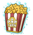 cartoon popcorn in paper bucket box vector image vector image