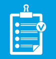 check list icon white vector image vector image