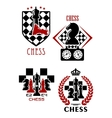 Chess game icons with chessmen and timer vector image vector image