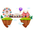 children riding train at funpark vector image vector image