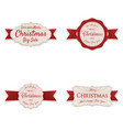 christmas banners with red ribbons set vector image