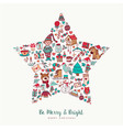 christmas hand drawn icon star holiday card design vector image