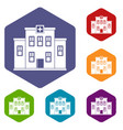 city hospital building icons set hexagon vector image vector image