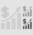 dollar bar chart trend mesh carcass model vector image vector image