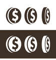 Dollar Coin Icons vector image vector image
