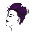 female short haircut violet color isolate vector image vector image