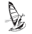 female windsurfer in sea vector image