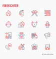 firefighter thin line icons set vector image vector image