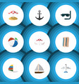 flat icon summer set of wiper aircraft sphere vector image vector image